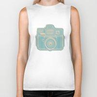 I Still Shoot Film Holga Logo - Reversed Turquoise/Tan Biker Tank