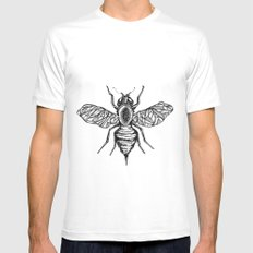 Bee White SMALL Mens Fitted Tee