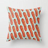 Bacon Pattern Throw Pillow