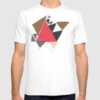 Exploding Triangles//Two Mens Fitted Tee White SMALL