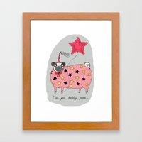 Birthday Pug Framed Art Print