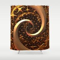 Golden Spirals Shower Curtain
