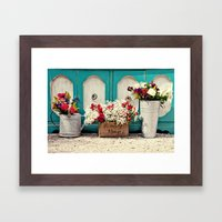 Vintage + Flowers  Framed Art Print