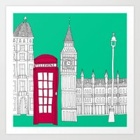 Capital Icons // London Red Telephone Box Art Print