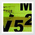 GRUNGE TECHNO V52m Typography | olive black Art Print