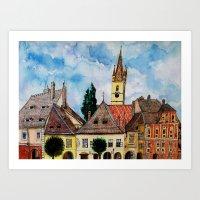 Evangelical Church Tower from Sibiu Transylvania Art Print