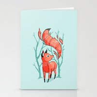 winter Stationery Cards featuring Winter Fox by Freeminds
