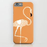iPhone & iPod Case featuring Orange Damask Flamingo Bird by ialbert