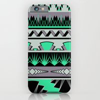 iPhone & iPod Case featuring art deco stripes - green & pale purple by ravynka
