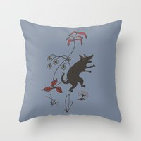 Black Dog Dancing In A G… Throw Pillow