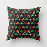 Multy retro flowers black Throw Pillow