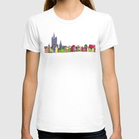 Sketchy Town in pink Womens Fitted Tee White SMALL