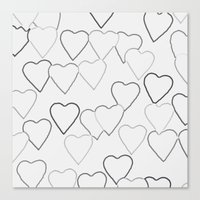 Black And White R Hearts Canvas Print