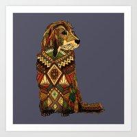 Golden Retriever dusk Art Print
