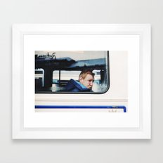 Man in tram, Goteborg Sweden winter 2012 Framed Art Print