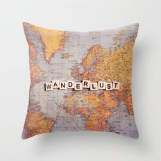 wanderlust map Throw Pillow