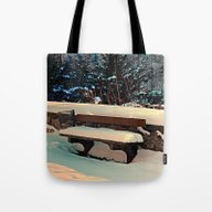 Snow Covered Bench Tote Bag