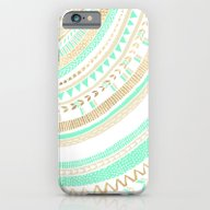 iPhone & iPod Case featuring Mint + Gold Tribal by Tangerine-Tane