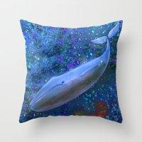 magical whale Throw Pillow