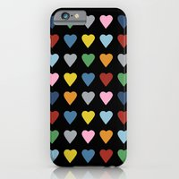 iPhone & iPod Case featuring 64 Hearts Black by Project M