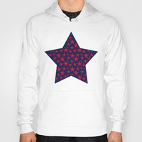 Red stars on bold blue background illustration Hoody