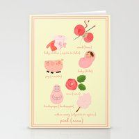 Colors: pink (Los colores: rosa) Stationery Cards