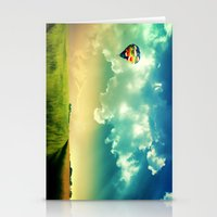 The Colorful Balloon In The Sky - Painting Style Stationery Cards