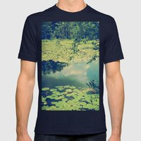 Lily Pad Pond Mens Fitted Tee Navy SMALL