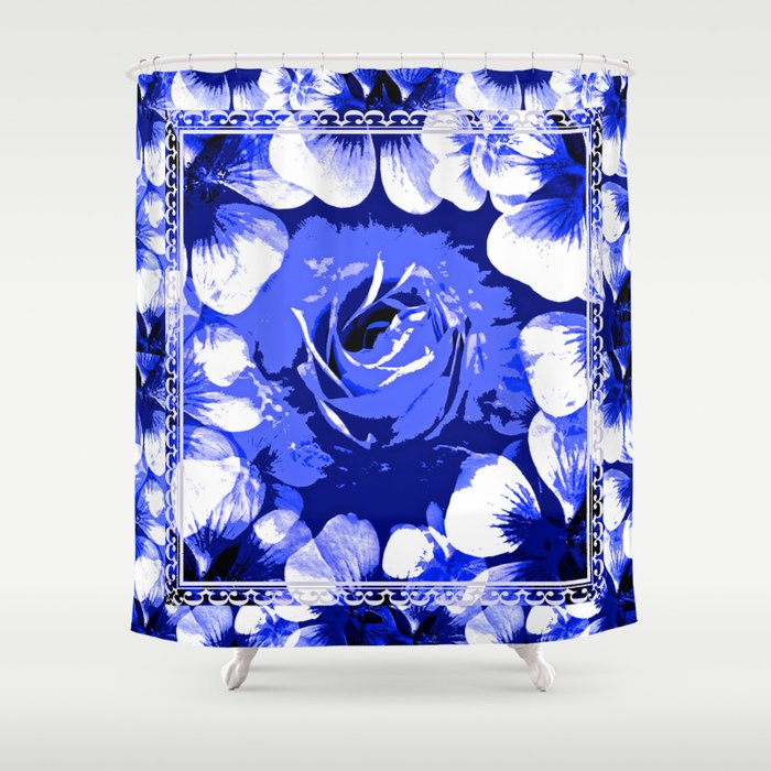 Roses Blue and White Toile #3 Shower Curtain by Saundra Myles ...
