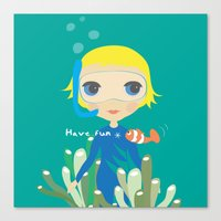 Diver girl Canvas Print