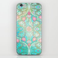 Floral Moroccan in Spring Pastels - Aqua, Pink, Mint & Peach iPhone & iPod Skin