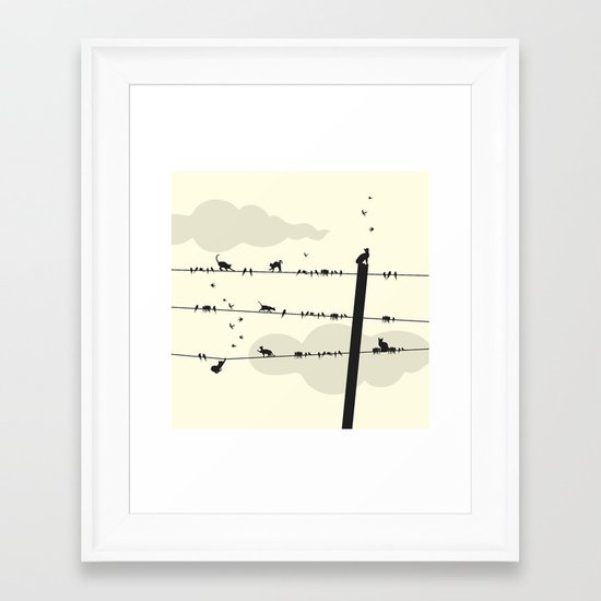Cats and Birds Framed Art Print