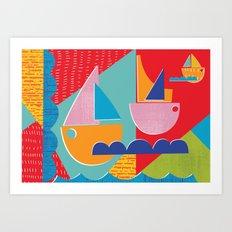 3 Sail Boats at Sea Art Print