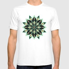 Peace Tile Print Mens Fitted Tee SMALL White