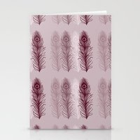 Chic Pink Peacock Feathers Stationery Cards