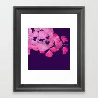 Pink Gingko Biloba Leaves on Aubergine Framed Art Print