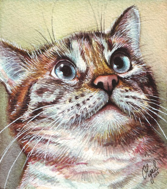 Cat Watercolor Art Print