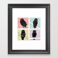 4 Owls On Branches Framed Art Print