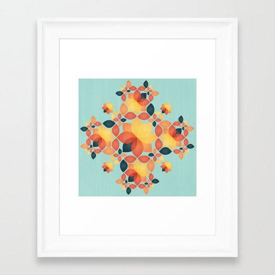 Orange Garden Pattern Framed Art Print