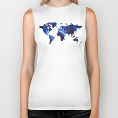 Space Milkyway World Map - Blue Biker Tank