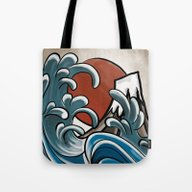Hokusai Comic Tote Bag