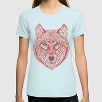 Red wolf Womens Fitted Tee Light Blue SMALL