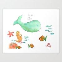 Whale and Sea Life  Art Print
