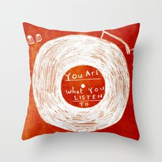 you are what you listen to, RED Throw Pillow