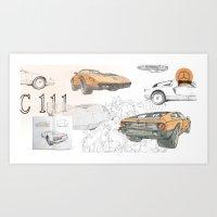 Mercedes-Benz C 111 collage Art Print