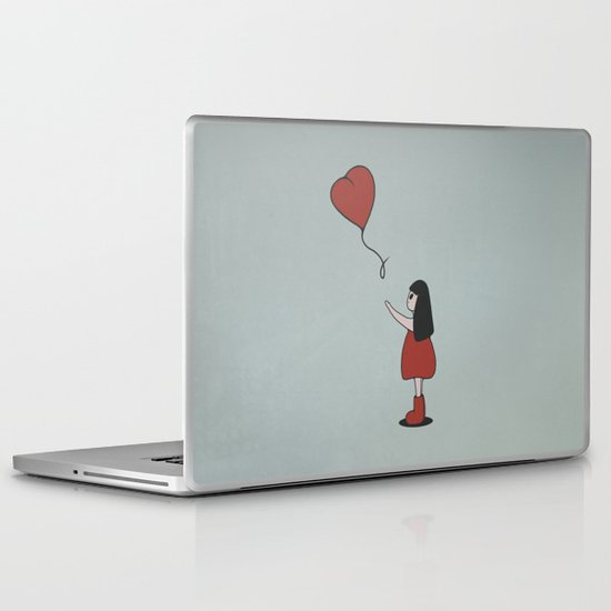 Girl with a Heart-Shaped Balloon Laptop & iPad Skin