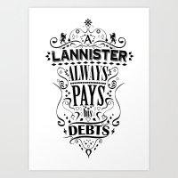 Lannister Art Print