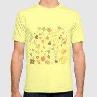 Flower Pattern 04 Mens Fitted Tee Lemon SMALL