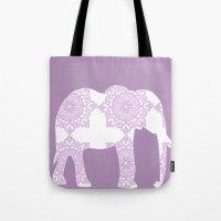 Animals Illustration - Purple Damask elephant Tote Bag