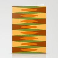 Retro Pattern Orange Gre… Stationery Cards
